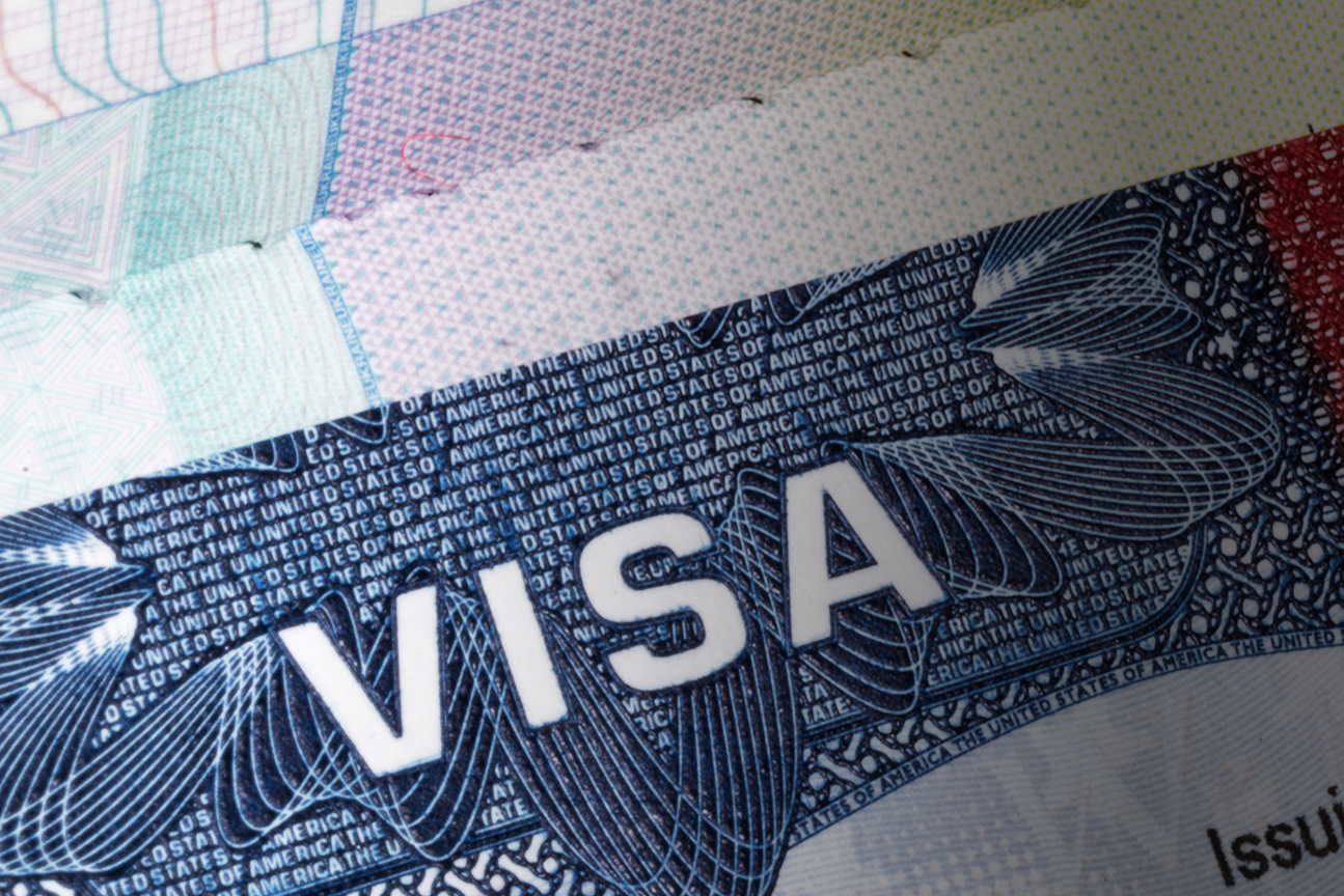 Close up image of a travel visa